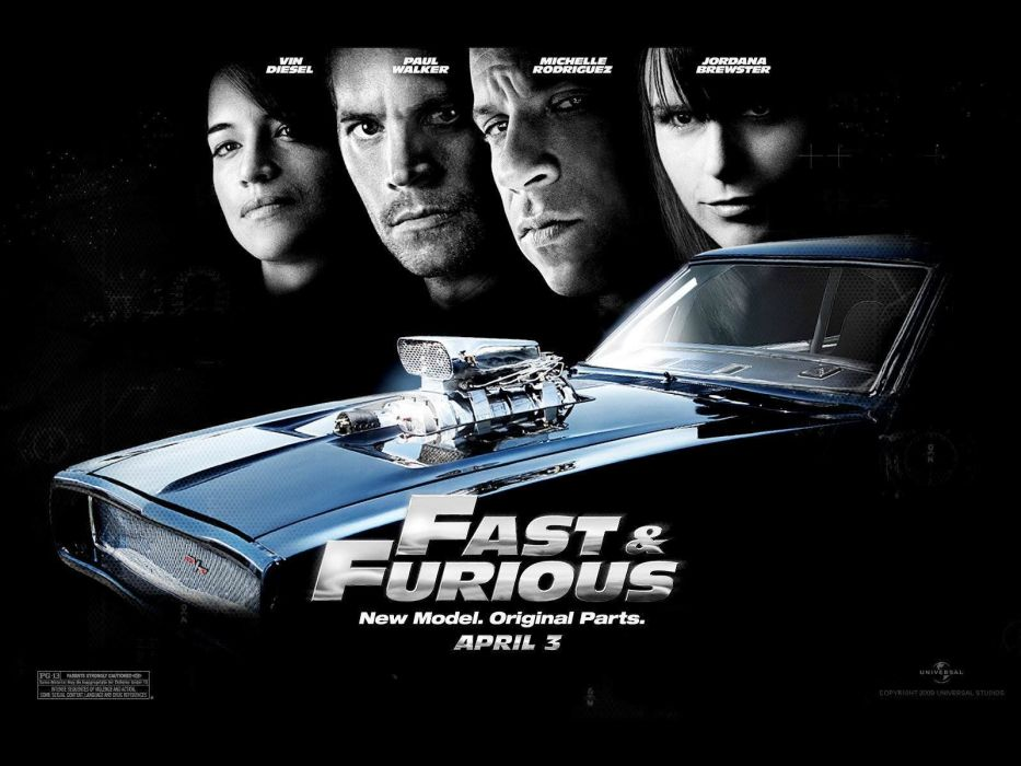 FAST FURIOUS action crime poster race racing thriller tuning hotrod hot rod rods custom car movie vin diesel paul walker film wallpaper