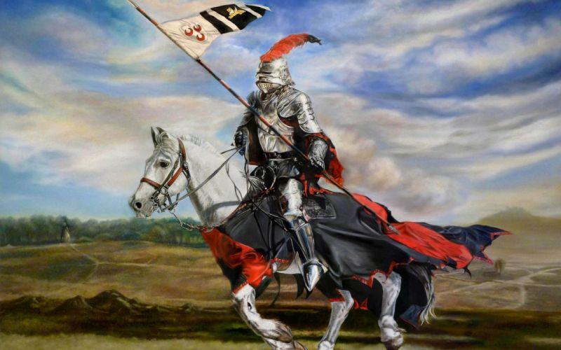 armor art pennant javelin jumping armor knight fantasy wallpaper