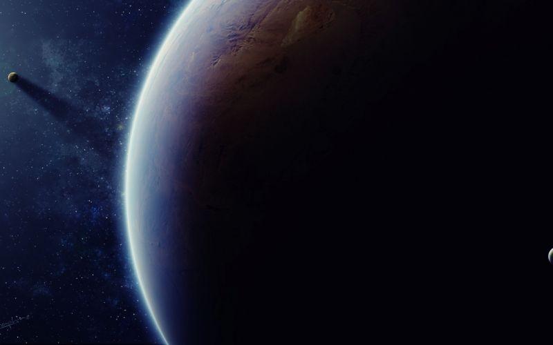 art stars light space satellite planet shadow wallpaper