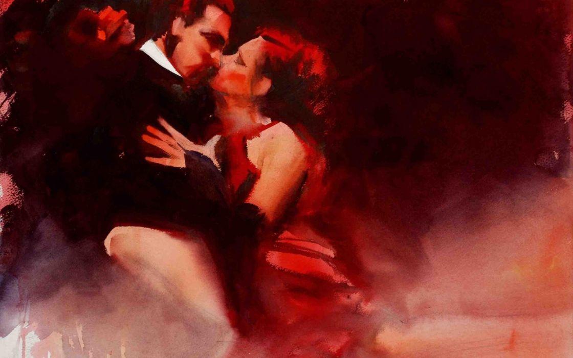 art tango dance painting kiss watercolor wallpaper