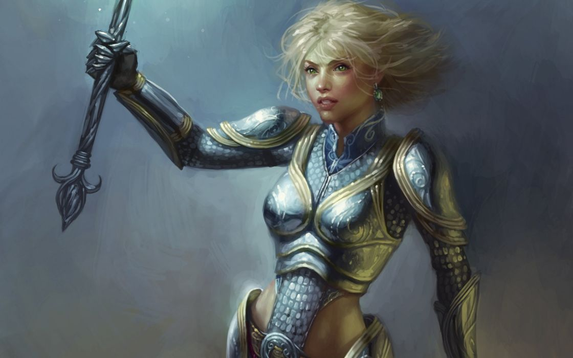 blondes women knights League of Legends armor artwork Lux wallpaper