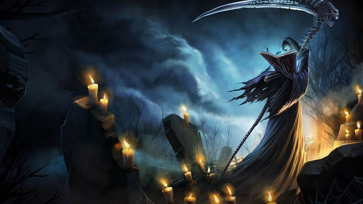 death scythe League of Legends Karthus graves nighttime cemetery candles fantasy wallpaper