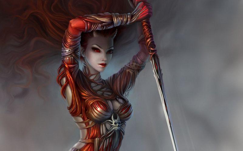 demon girl spear art horns weapons wallpaper