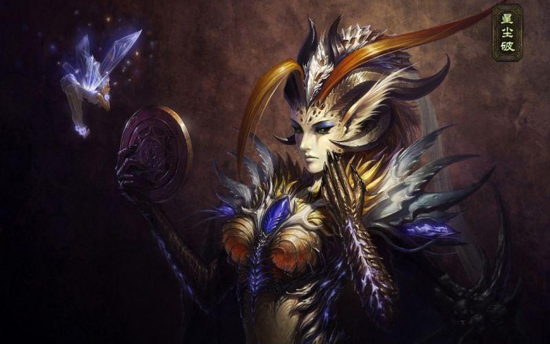 fairy art girl demon wings mirror wallpaper