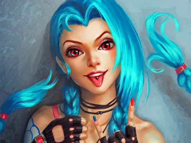 fantasy video game League of Legends magic warrior girl blue hair wallpaper