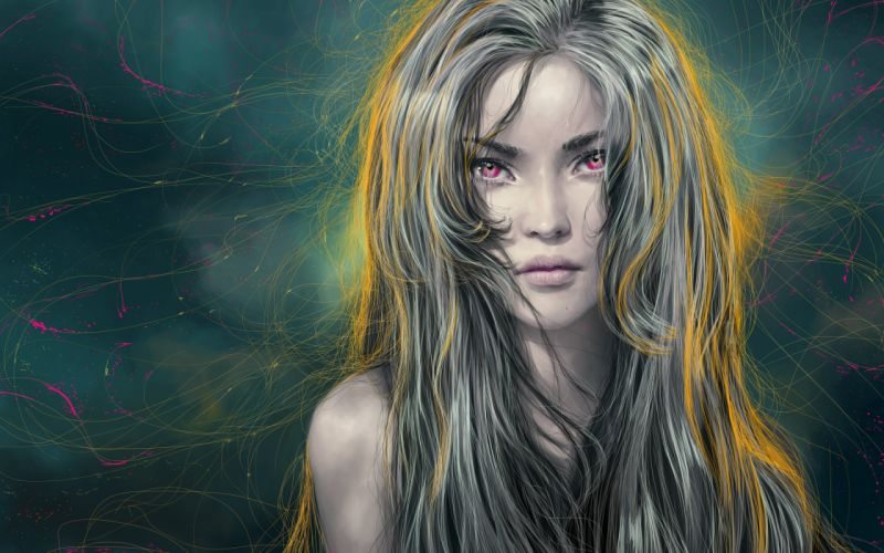 fantays hair girl art face red eyes wallpaper