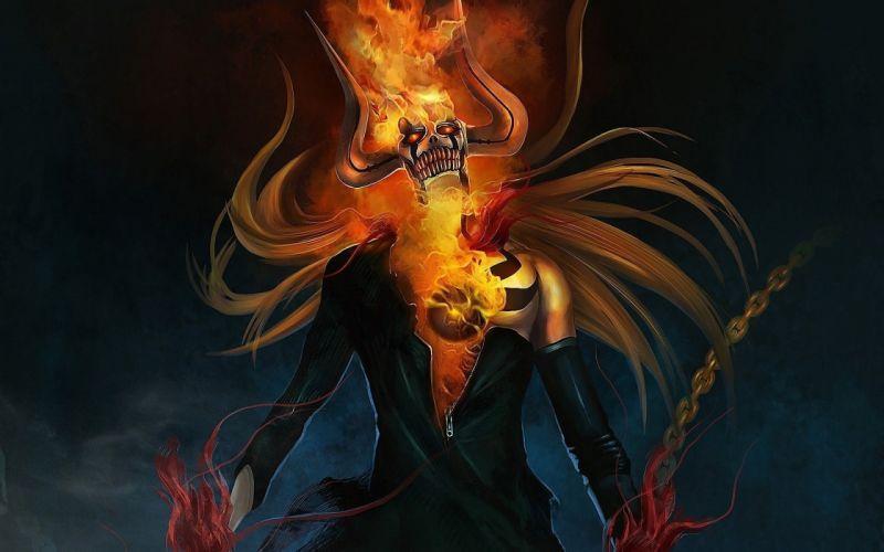 kurosaki ichigo horns anime fire chain art of bleach skull wallpaper