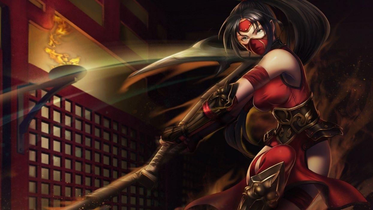 League of Legends Akali fantasy game woman red dress wallpaper
