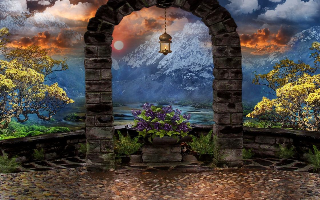 lantern arch 3d art trees art sky flowers mountains wallpaper