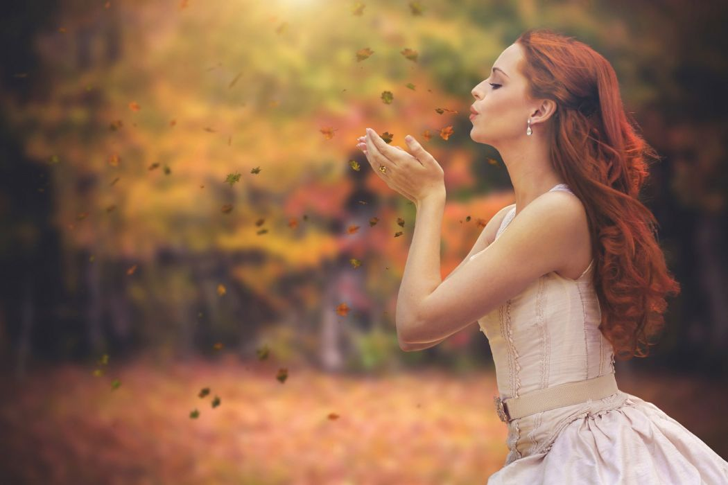 lady Female woman autumn leaves fall autumn splendor Kiss beauty wallpaper