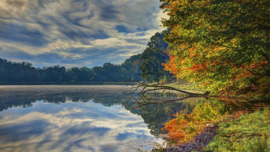 lake leaves nature fall walk park trees forest water colors autumn splendor autumn clouds river sky colorful wallpaper