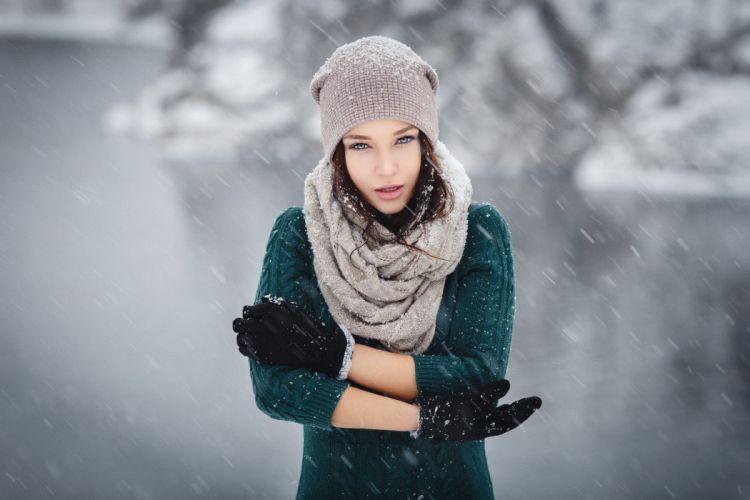 model brunette sweater scarf snow women outdoors portrait depth of field Angelina Petrova winter women wallpaper