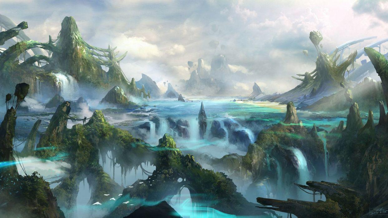 mountains art rock fantasy world river waterfall wallpaper