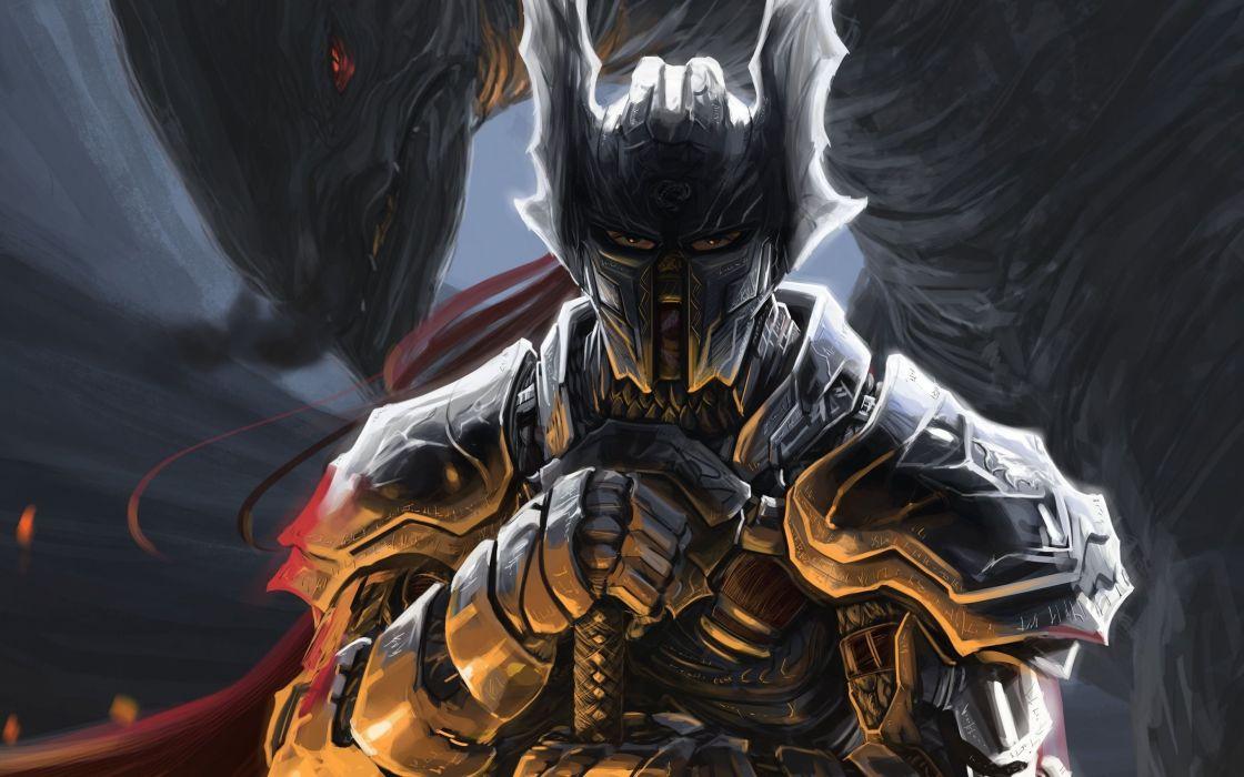 Monster peter balogh sword weapons armor warrior helmet art wallpaper