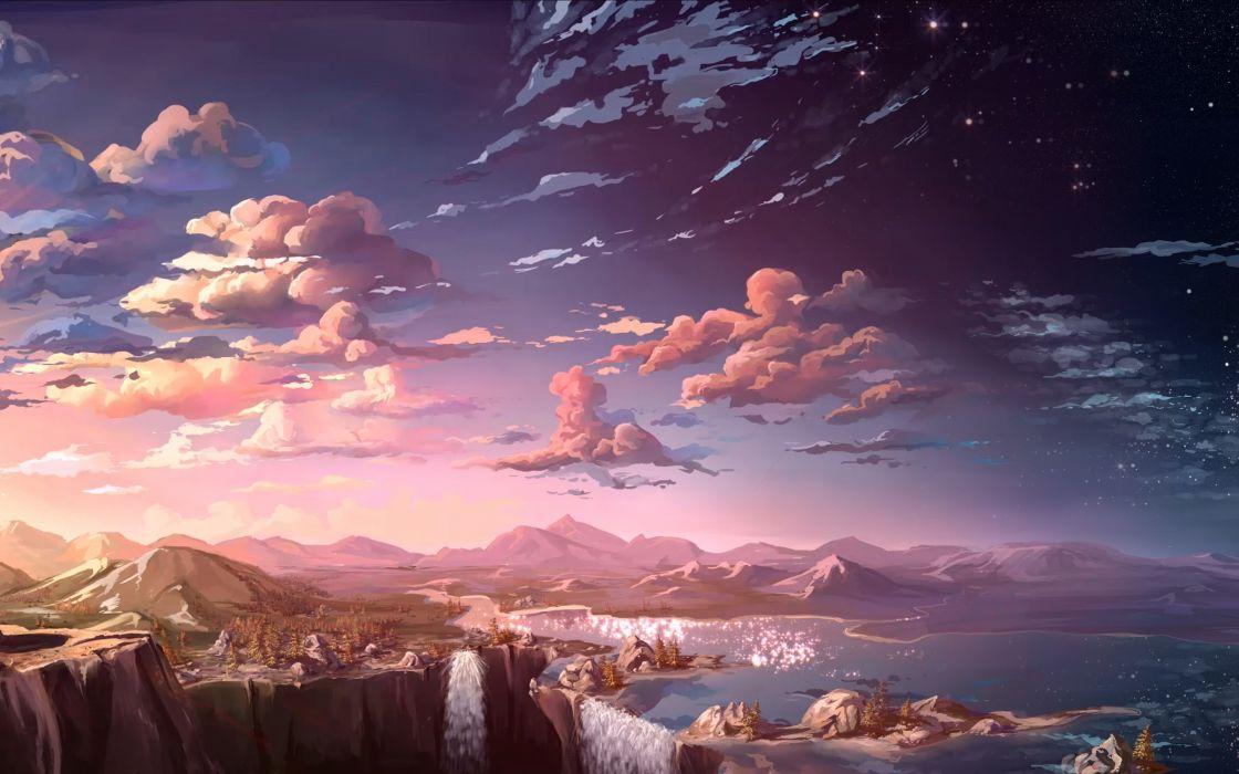 mountains rivers rocks view art landscape waterfalls sunset wallpaper
