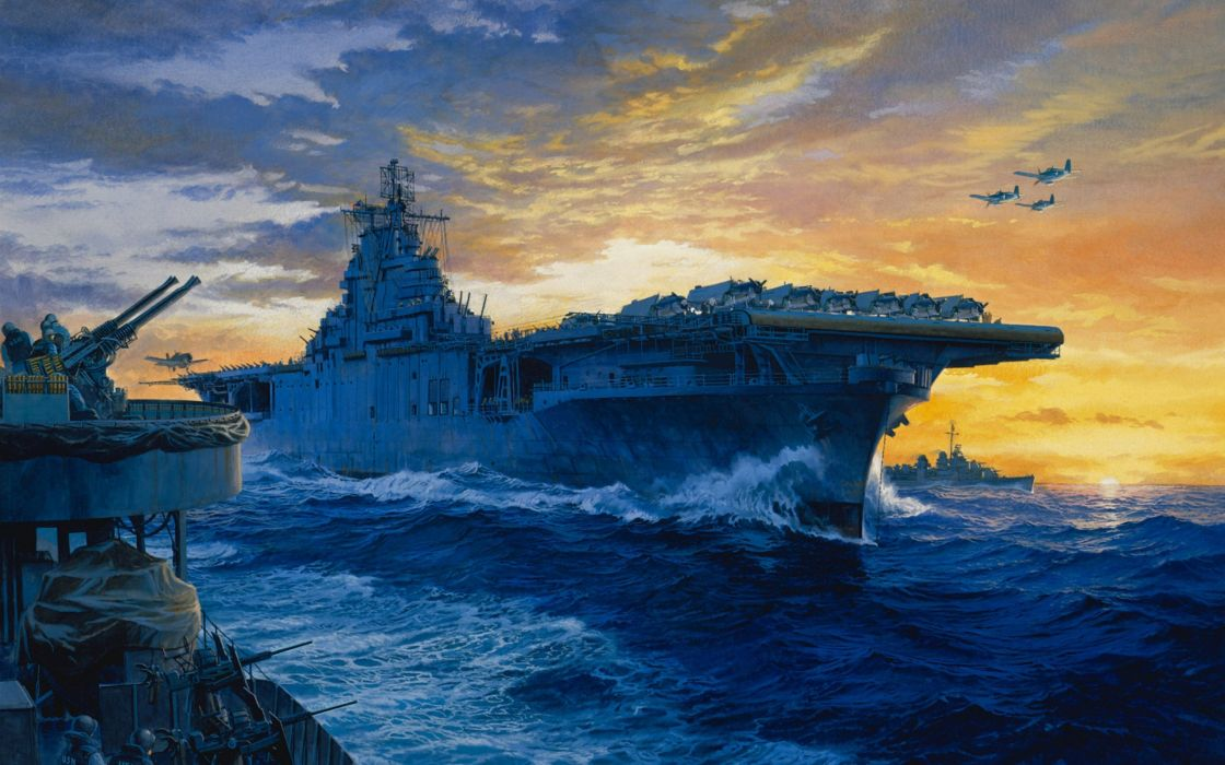 navy aircraft carrier art planes painting on station wallpaper