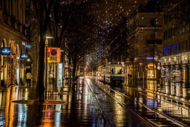 nature city street night light wallpaper