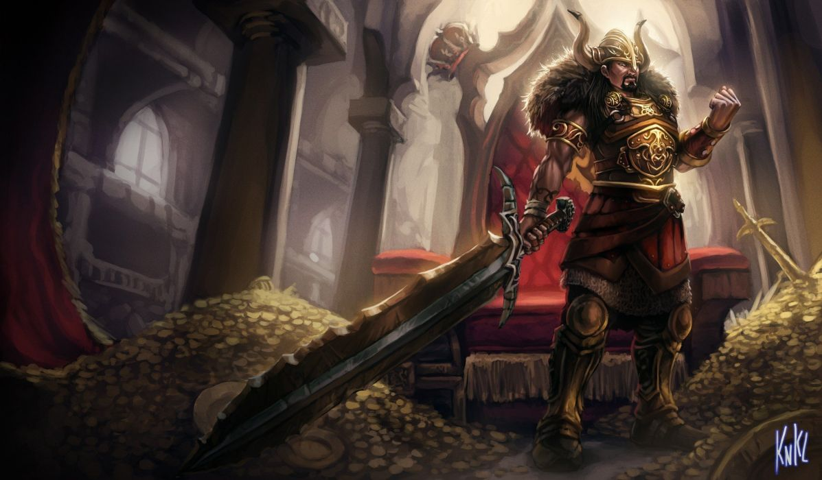 paintings video games League of Legends Riot Games tryndamere wallpaper