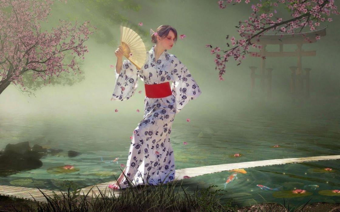 japanese garden girl in kimono stuff 1440x900 hd-wallpaper-298135 wallpaper