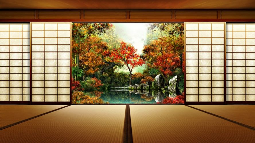 modern-interior-traditional-home-with-wooden-floor-and-tatamis-also-shoji-wall-sliding-door-along-wooden-ceiling wallpaper