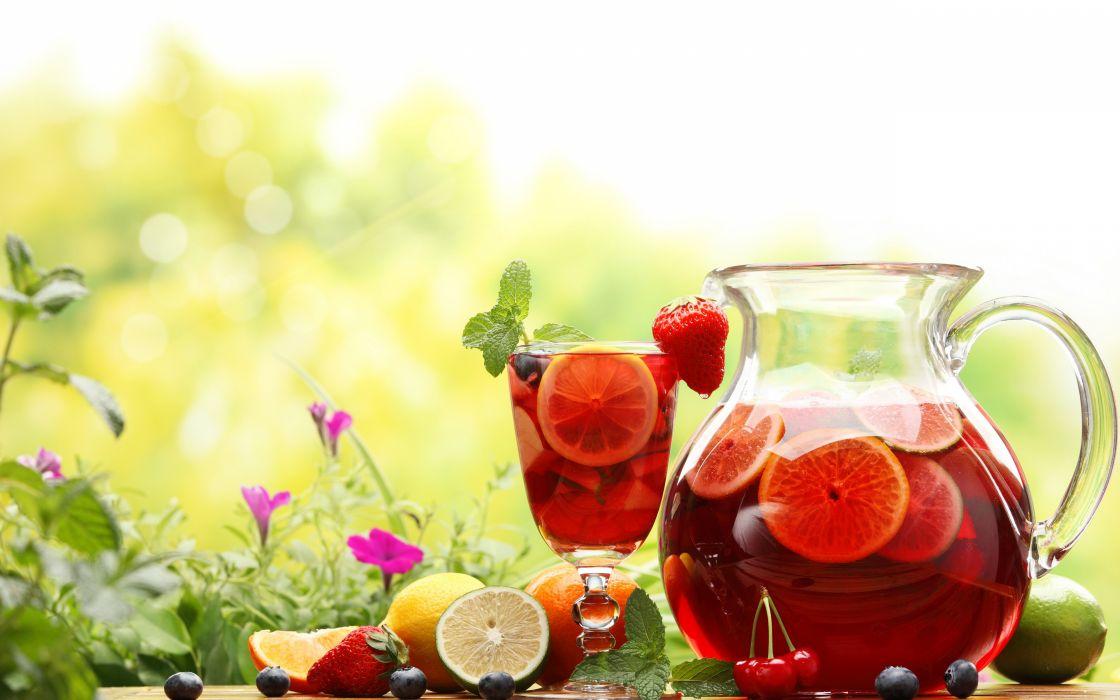 jarra copa sangria frutas wallpaper