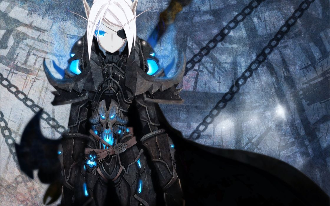 pointy ears blue eyes chain world of warcraft wallpaper