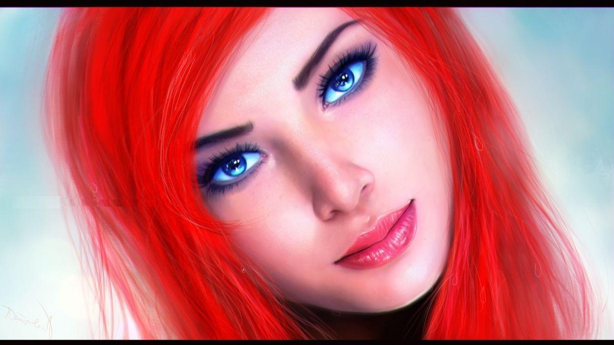 red hair eyes blue eyes the little mermaid Ariel wallpaper