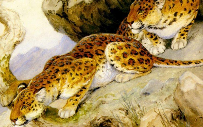predators painting leopards georges-frederic rotig art wallpaper