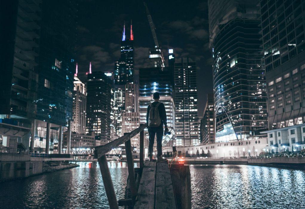 river Chicago city lights skyscraper night cityscape wallpaper