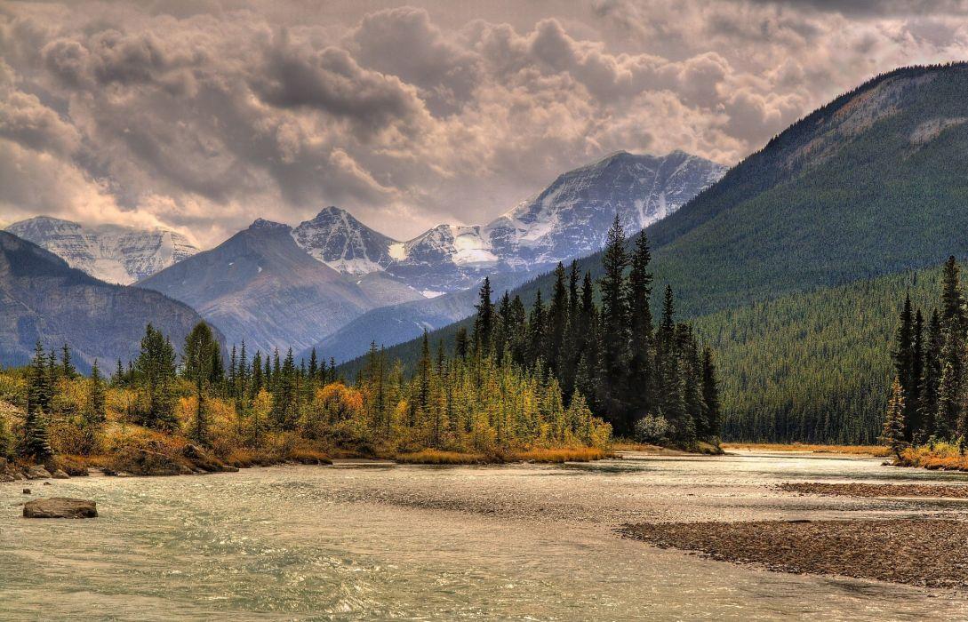 river trees landscape clouds autumn autumn splendor sky nature fall mountains wallpaper