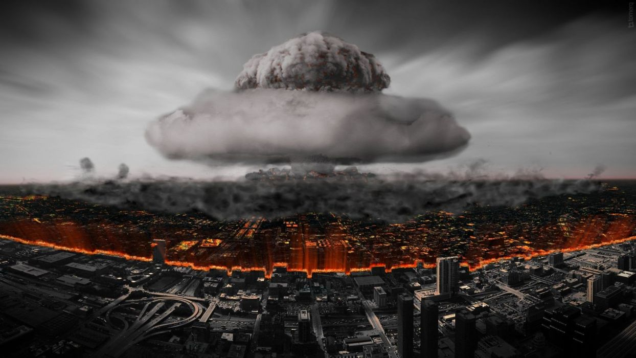 selective coloring apocalyptic cityscape smoke explosion wallpaper