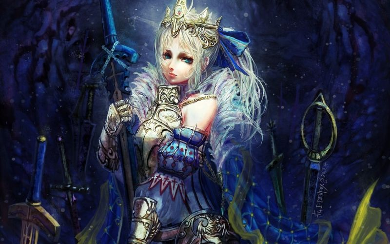 saber fate stay night warrior weapon woman blond armor wallpaper