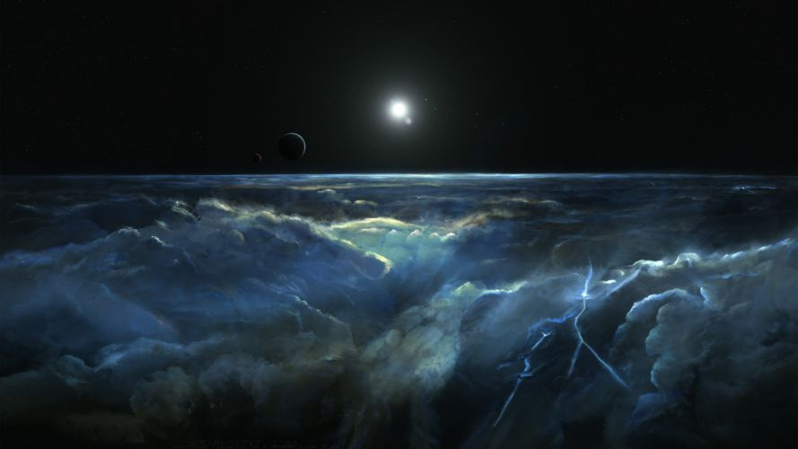 space stars planet digital art wallpaper