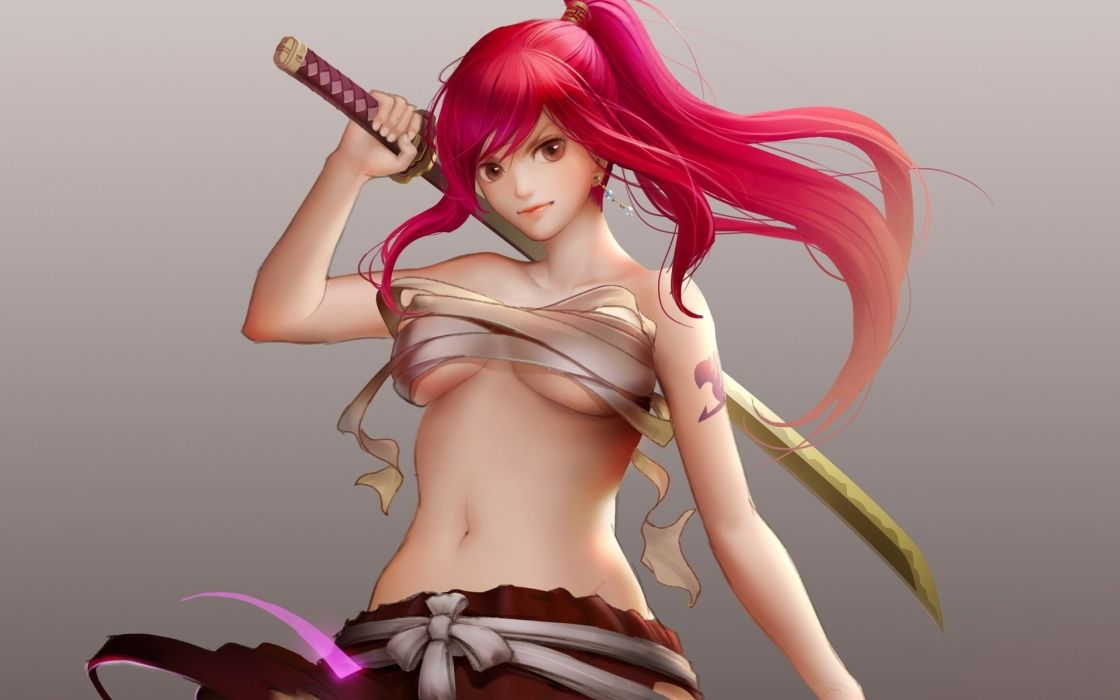 sword fairy tail girl erza scarlet bandages background art  wallpaper