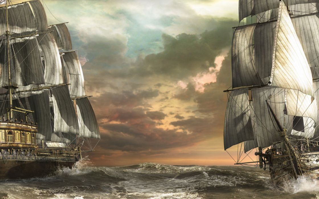 sailboats boats sea art wave wallpaper