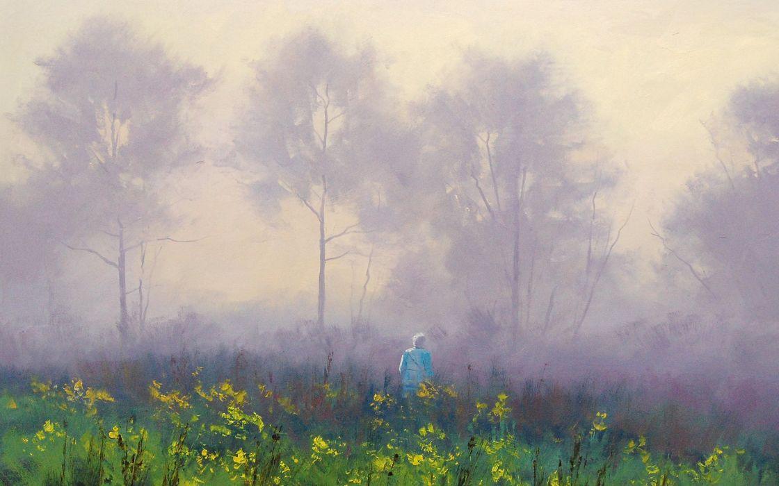 stroll in the mist drawing art artsaus wallpaper