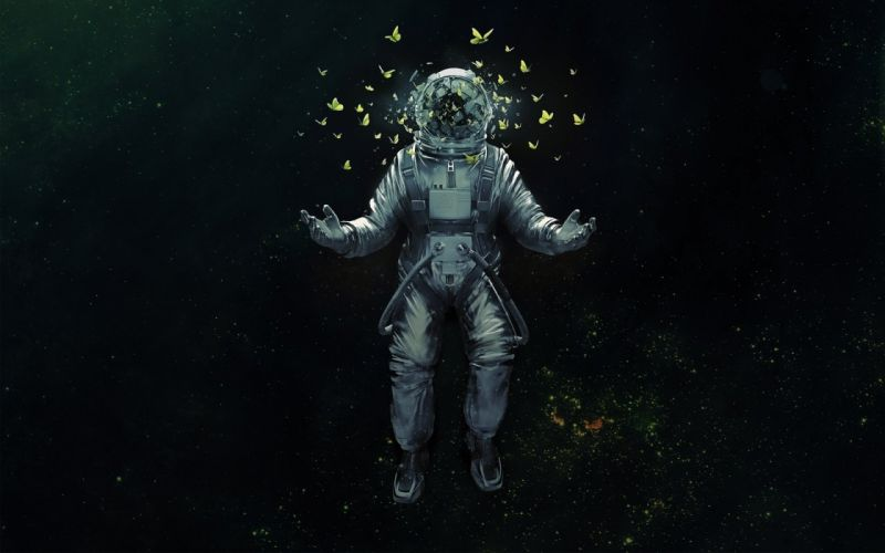 spacesuit astronaut space cosmos butterfly art wallpaper