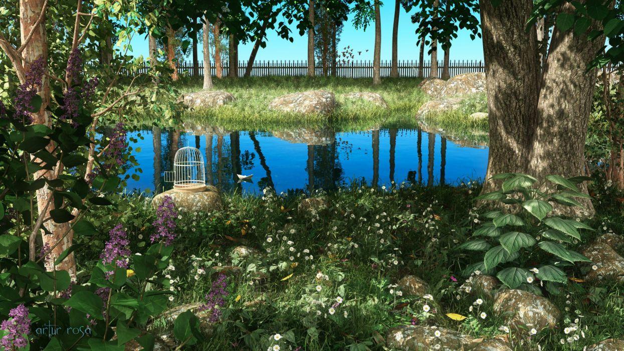 square garden art plants landscape greenery pond wallpaper