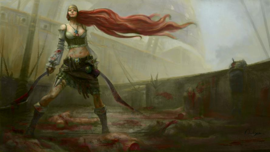 video games redheads pirates League of Legends long hair weapons artwork Katarina the Sinister Blade blades wallpaper