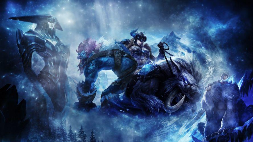 video games winter League of Legends fantasy art artwork wallpaper