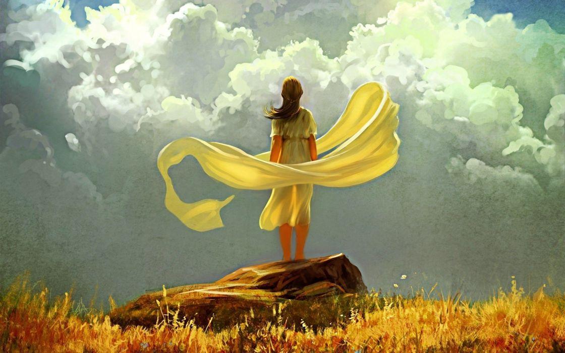 wind clouds stone art grass girl sky cloth wallpaper