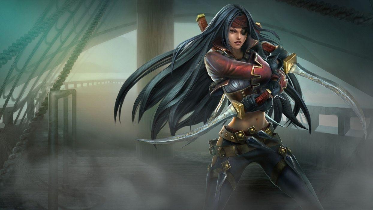 women abstract wall ships pirates League of Legends artwork Katarina the Sinister Blade swords black hair wallpaper
