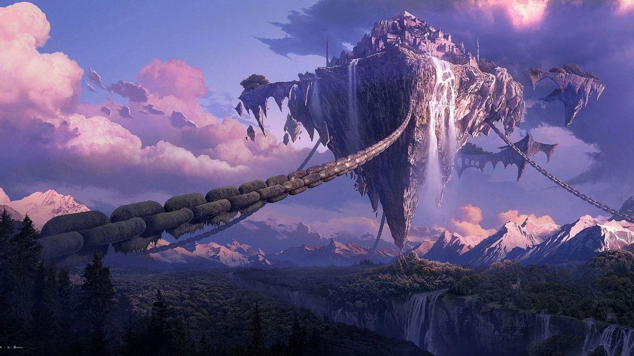 zhang yixin mountains art wood floating island city canyon wallpaper