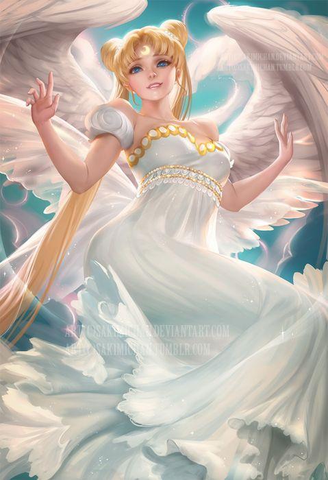 Sailor Moon Girl Beautiful Dress Wings Angel Anime Series Original Blonde Blue Eyes Wallpaper 1440x2105 1005179 Wallpaperup