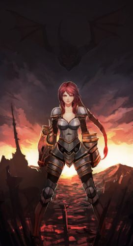 women video games dragons redheads League of Legends armor red eyes Shyvana wallpaper