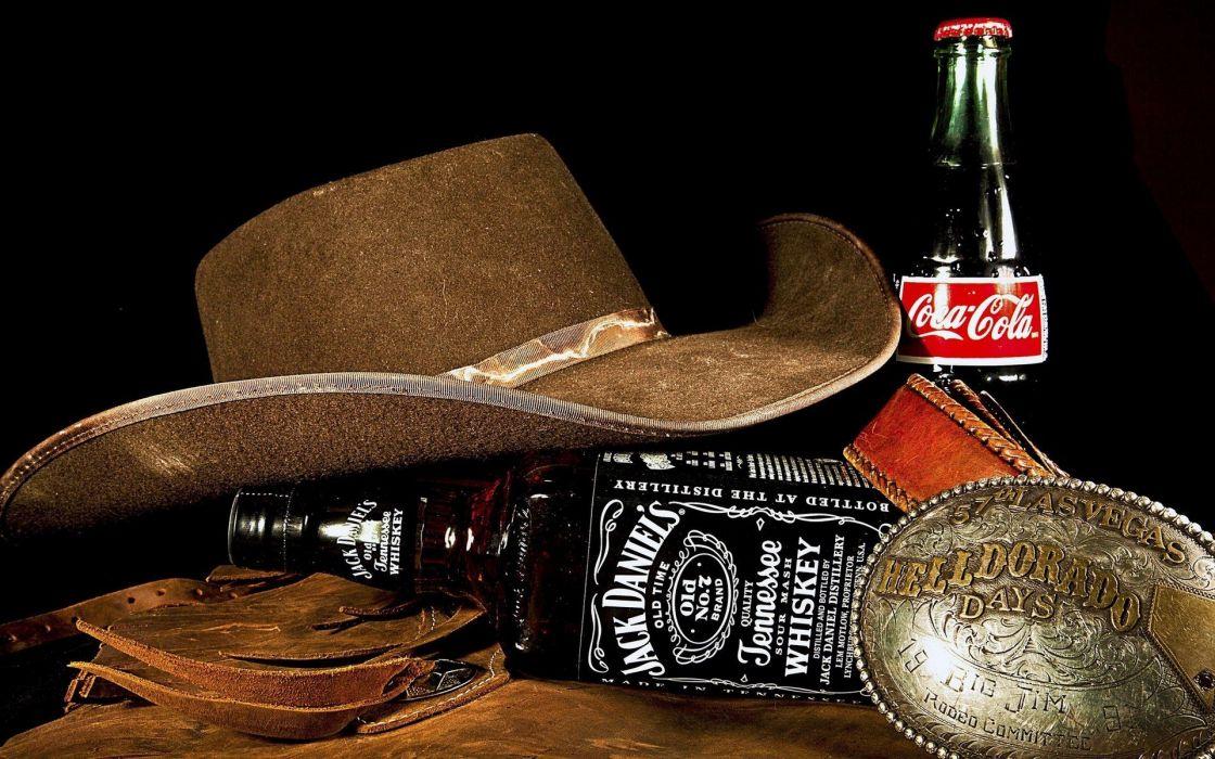 botellas whyski cocacola sombrero wallpaper