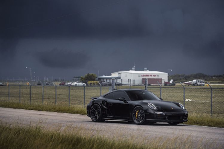 BLACK PORSCHE 911 TURBO S adv1 wheels cars wallpaper