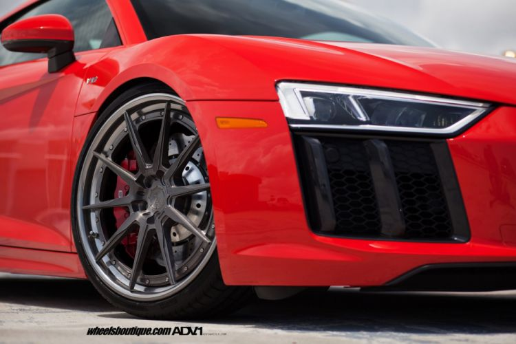 RED AUDI R8 V10 adv1 forged wheels cars wallpaper