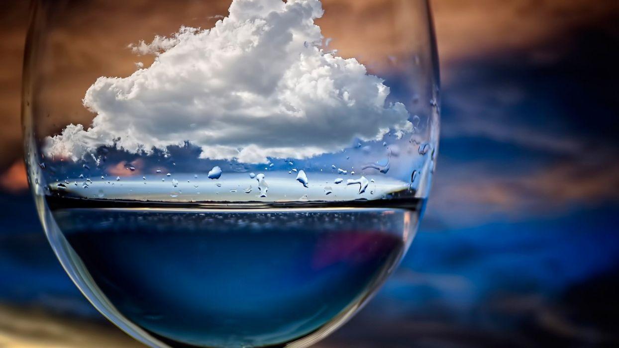 vaso agua nube cristal wallpaper