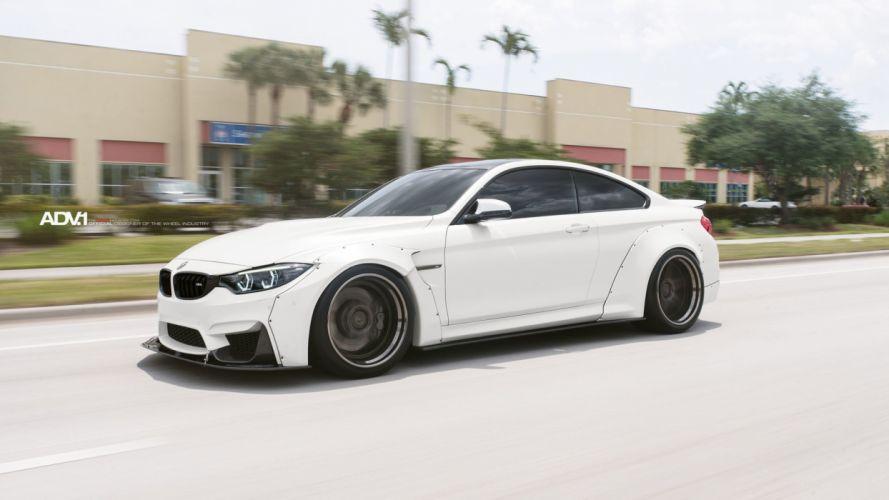 White BMW M4 liberty walk widebody adv1 wheels coupe cars wallpaper